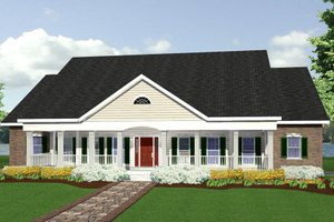 Architectural House Design - Southern Exterior - Front Elevation Plan #44-113