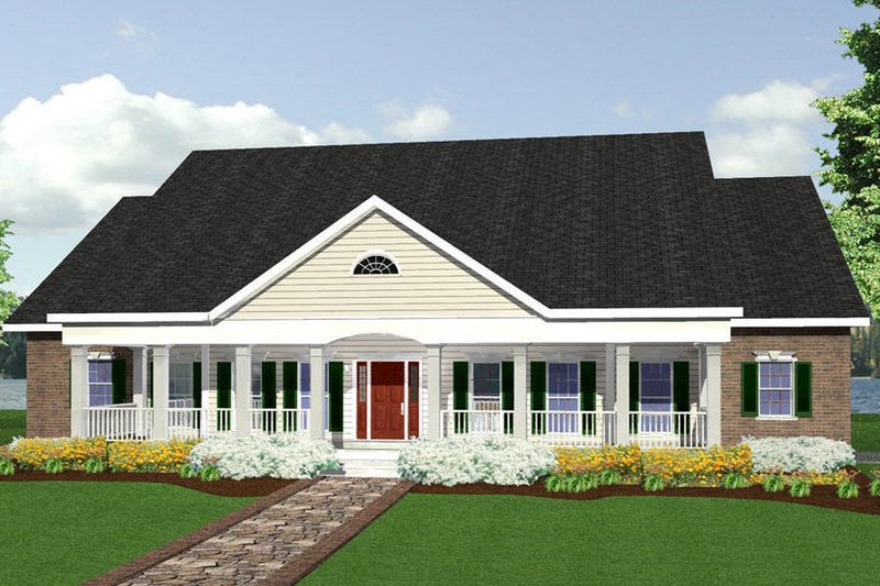 Southern Exterior - Front Elevation Plan #44-113