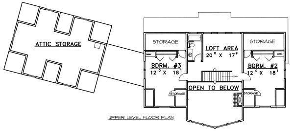 Traditional Floor Plan - Upper Floor Plan Plan #117-579