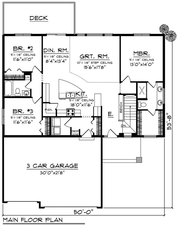 Contemporary Floor Plan - Main Floor Plan Plan #70-1455
