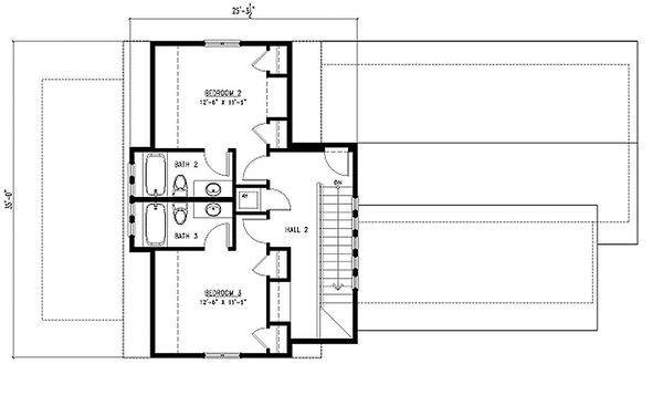 Upper Level Floor Plan - 2000 square foot cottage home