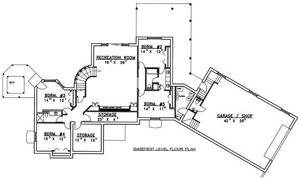 Bungalow Floor Plan - Lower Floor Plan Plan #117-518