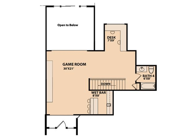 Ranch Floor Plan - Upper Floor Plan Plan #515-1