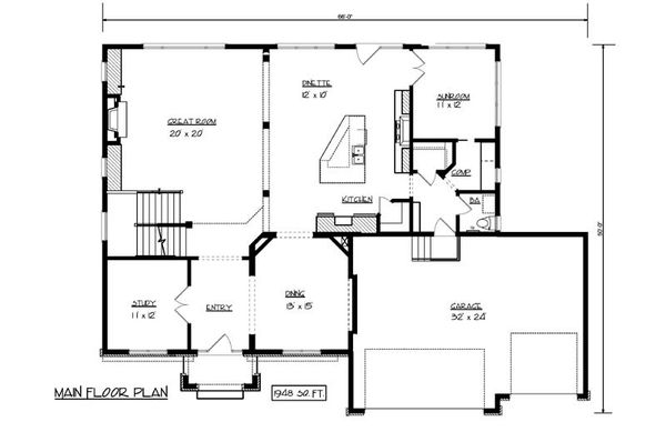 European Floor Plan - Main Floor Plan Plan #320-499