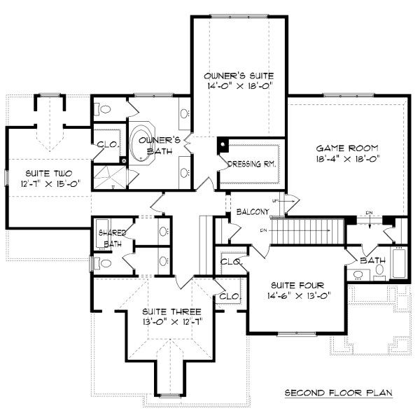 Tudor Floor Plan - Upper Floor Plan Plan #413-888