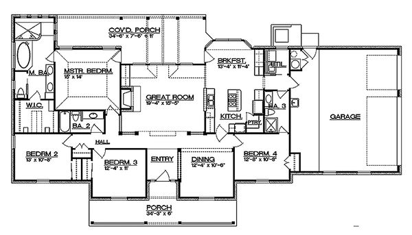 Ranch Floor Plan - Main Floor Plan Plan #935-2