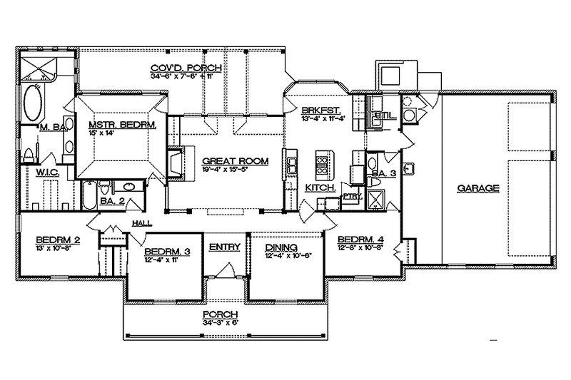 Ranch Floor Plan - Main Floor Plan Plan #935-2