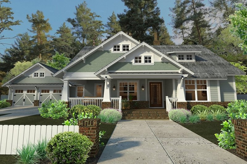 Craftsman Style House Plan - 3 Beds 2 Baths 1879 Sq/Ft Plan #120-187 Exterior - Front Elevation