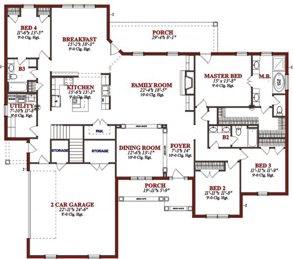 Traditional Floor Plan - Main Floor Plan Plan #63-344