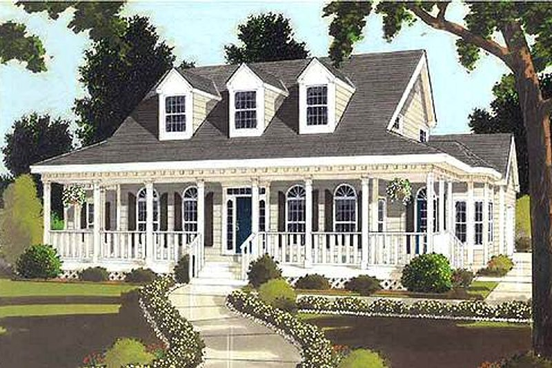 Southern Style House Plan - 4 Beds 2.5 Baths 2177 Sq/Ft Plan #3-176 Exterior - Front Elevation