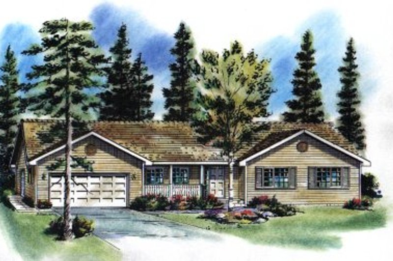 Ranch Exterior - Front Elevation Plan #18-185