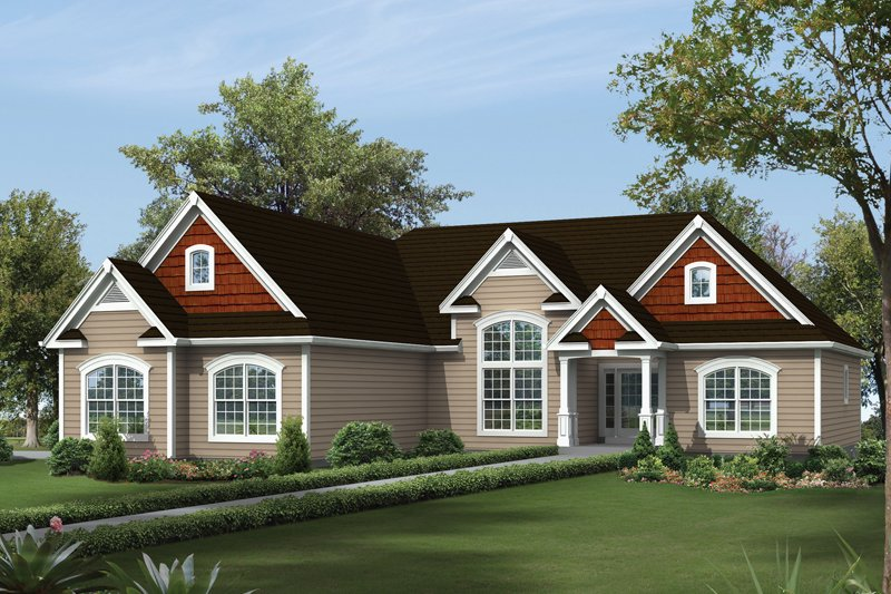 Ranch Style House Plan - 3 Beds 2.5 Baths 1983 Sq/Ft Plan #57-617 Exterior - Front Elevation