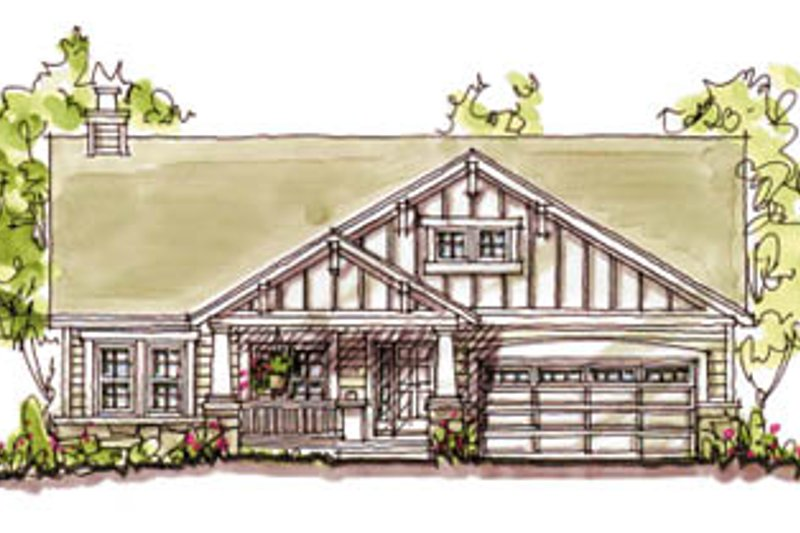 Craftsman Style House Plan - 3 Beds 2 Baths 1724 Sq/Ft Plan #20-126 Exterior - Front Elevation