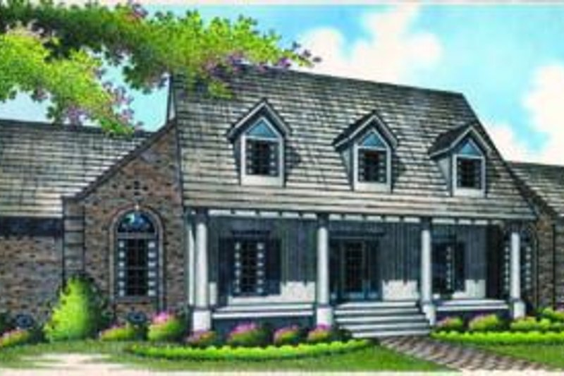 Southern Exterior - Front Elevation Plan #45-203