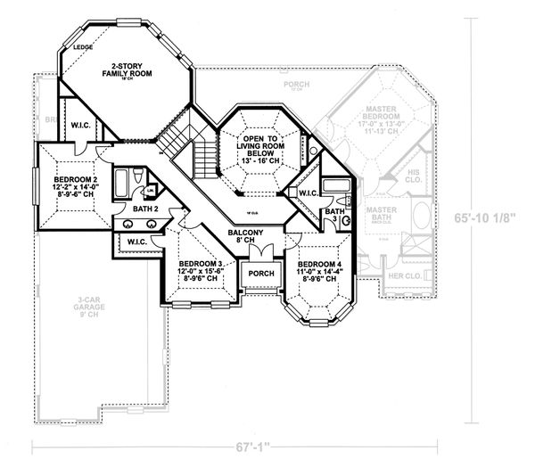 European Floor Plan - Upper Floor Plan #20-2043