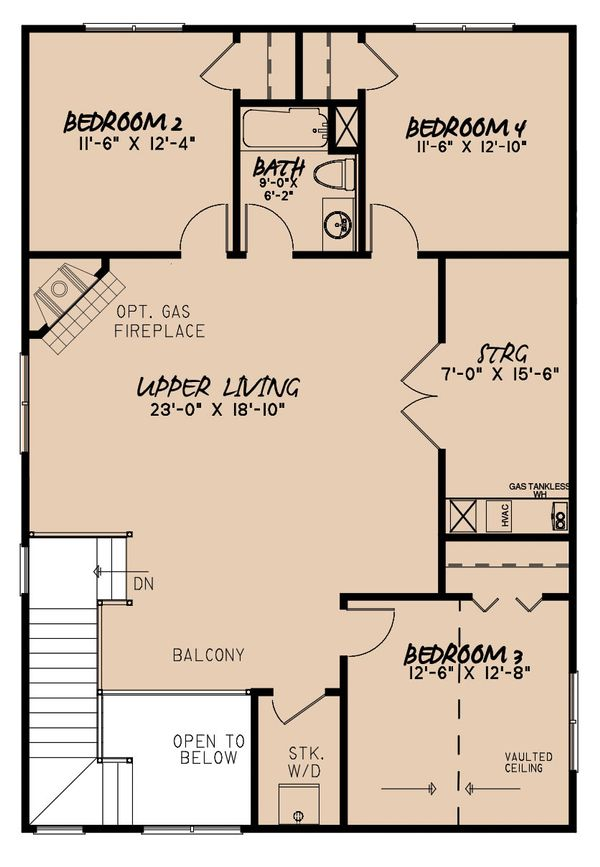 Craftsman Floor Plan - Upper Floor Plan #923-163