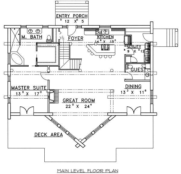 Log Floor Plan - Main Floor Plan Plan #117-507