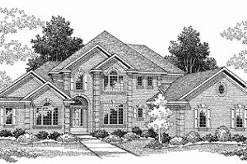 Traditional Style House Plan - 4 Beds 3.5 Baths 3339 Sq/Ft Plan #70-508 Exterior - Front Elevation