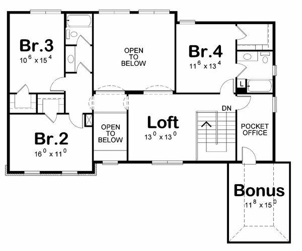 Traditional Floor Plan - Upper Floor Plan Plan #20-2184