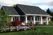 Country Style House Plan - 3 Beds 2 Baths 1412 Sq/Ft Plan #18-1036 Exterior - Front Elevation