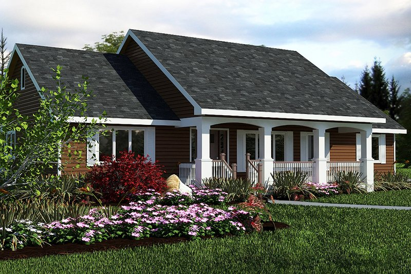 Country style home, ranch design, front elevation