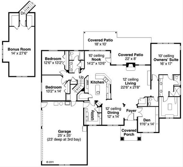 Craftsman Floor Plan - Main Floor Plan Plan #124-846