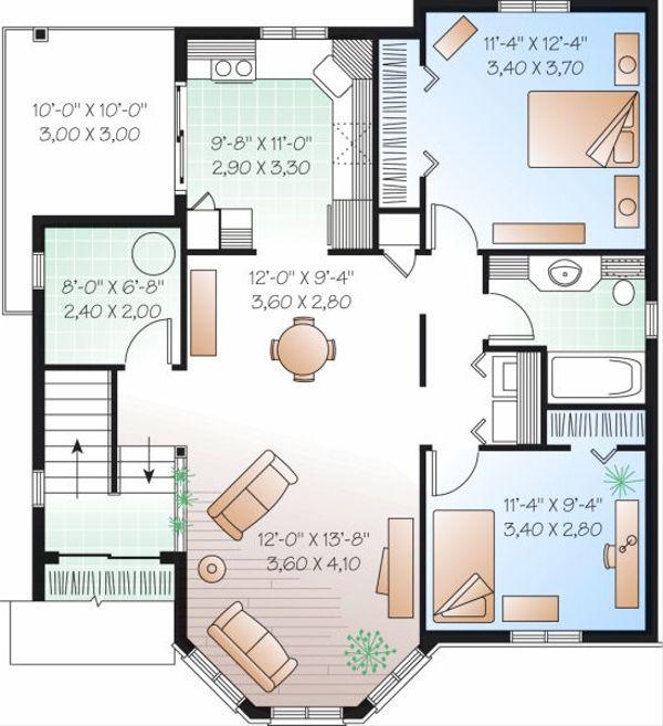 European Floor Plan - Upper Floor Plan #23-773