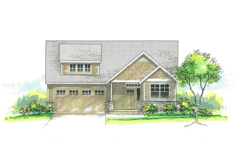 Craftsman Exterior - Front Elevation Plan #53-584