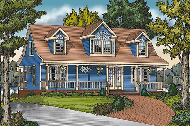 Country Style House Plan - 4 Beds 3 Baths 1673 Sq/Ft Plan #456-11 Exterior - Front Elevation
