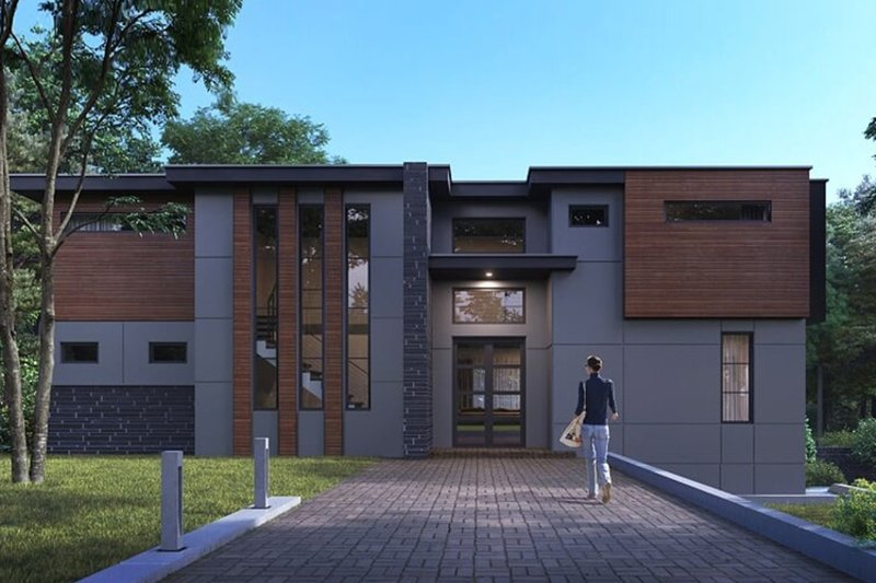 House Plan Design - Contemporary Exterior - Front Elevation Plan #1066-44