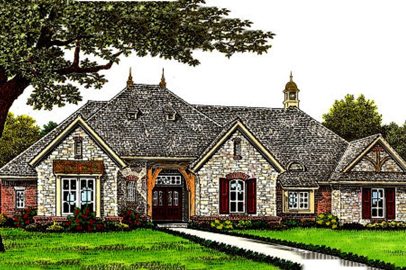 European Style House Plan - 3 Beds 2.5 Baths 2417 Sq/Ft Plan #310-673 Exterior - Front Elevation