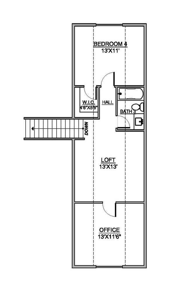 Craftsman Floor Plan - Upper Floor Plan Plan #1073-3