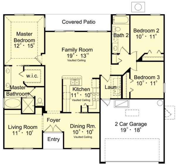 Mediterranean Floor Plan - Main Floor Plan Plan #417-821