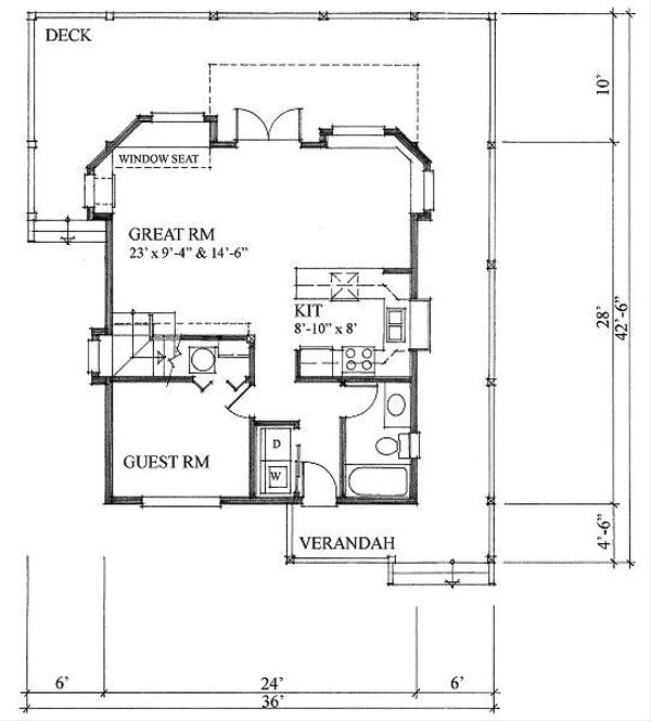 Cottage Style House Plan - 2 Beds 2 Baths 1286 Sq/Ft Plan #118-111 Floor Plan - Main Floor Plan