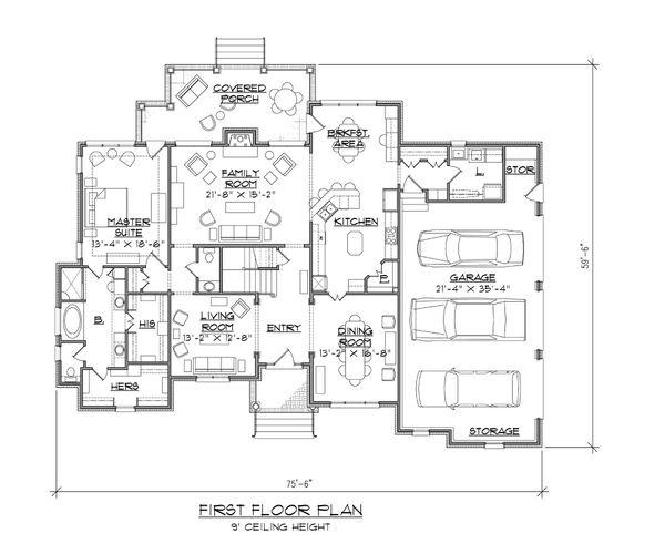 European Floor Plan - Main Floor Plan Plan #1054-89