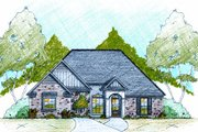 European Style House Plan - 3 Beds 3 Baths 1971 Sq/Ft Plan #36-481 Exterior - Front Elevation