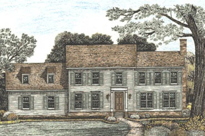 Colonial Style House Plan - 4 Beds 3.5 Baths 3259 Sq/Ft Plan #20-1103 Exterior - Front Elevation