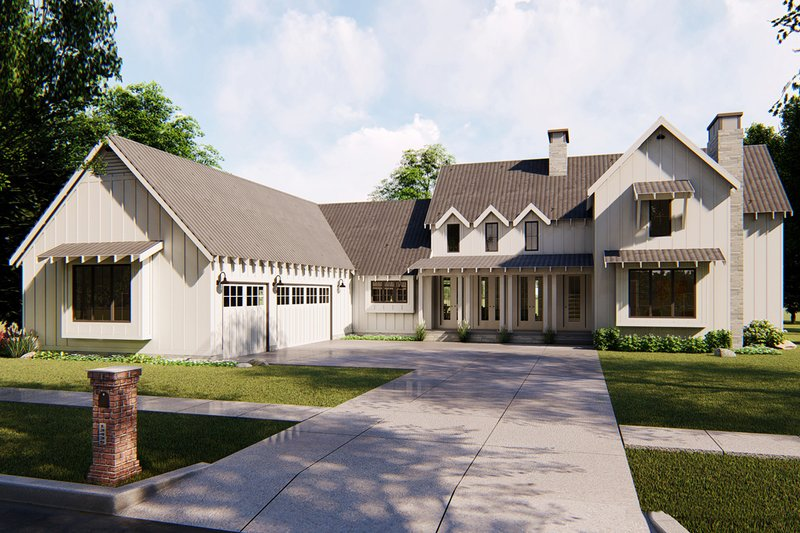 Farmhouse Style House Plan - 4 Beds 3.5 Baths 2768 Sq/Ft Plan #455-207 Exterior - Front Elevation