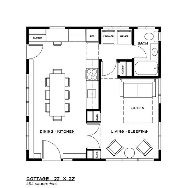 Contemporary Style House Plan - 1 Beds 1 Baths 484 Sq/Ft Plan #917-40 Floor Plan - Main Floor Plan