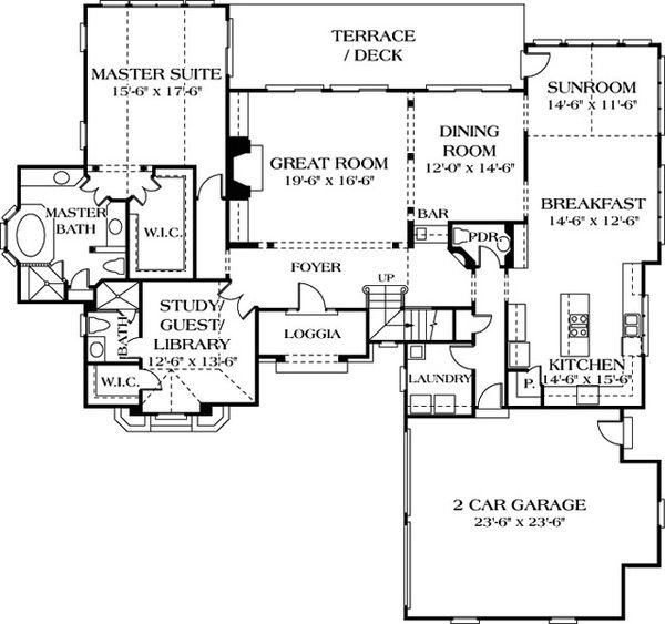 European Floor Plan - Main Floor Plan Plan #453-35