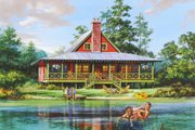 Cabin Style House Plan - 2 Beds 2 Baths 1727 Sq/Ft Plan #137-295 Exterior - Front Elevation