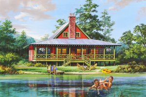 Cabin Exterior - Front Elevation Plan #137-295