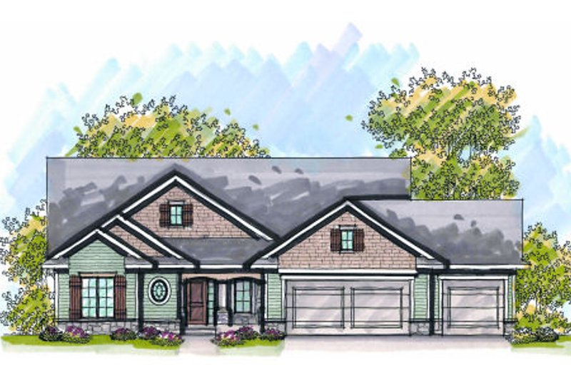 Bungalow Exterior - Front Elevation Plan #70-977