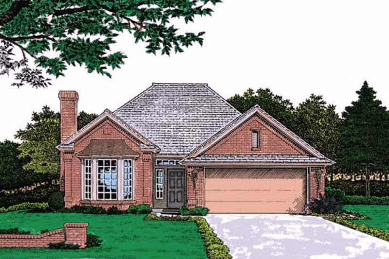 European Style House Plan - 3 Beds 2 Baths 1376 Sq/Ft Plan #310-753 Exterior - Front Elevation