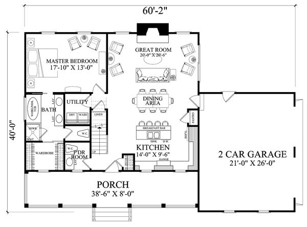 Home Plan - Country Floor Plan - Main Floor Plan #137-294