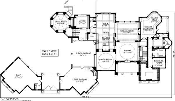 Main level floor plan - 9400 square foot European home