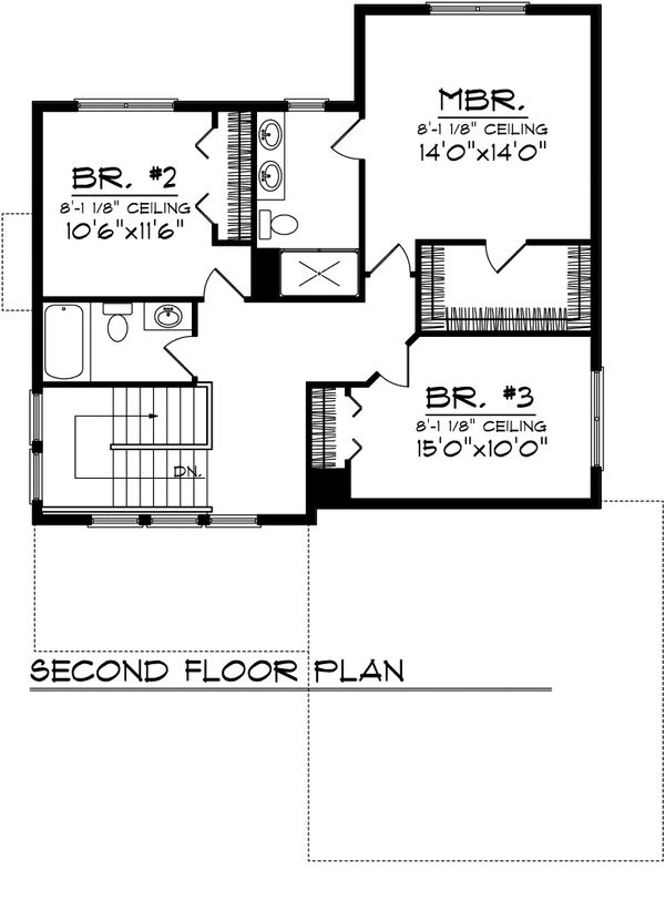 Bungalow Floor Plan - Upper Floor Plan Plan #70-1069