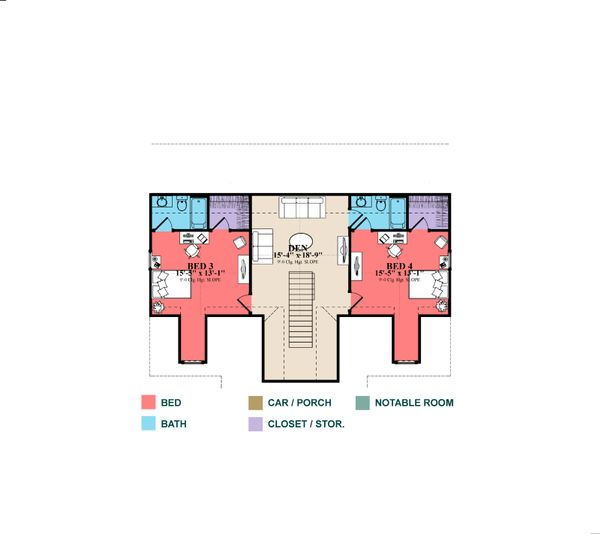 Country Floor Plan - Upper Floor Plan Plan #63-413