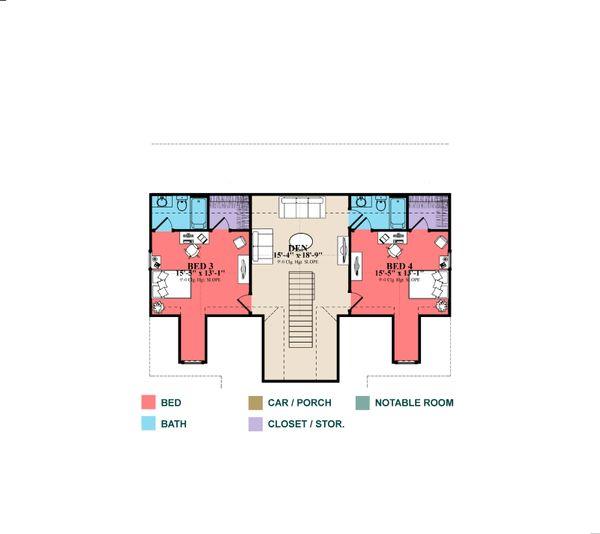 Country Floor Plan - Upper Floor Plan Plan #63-413