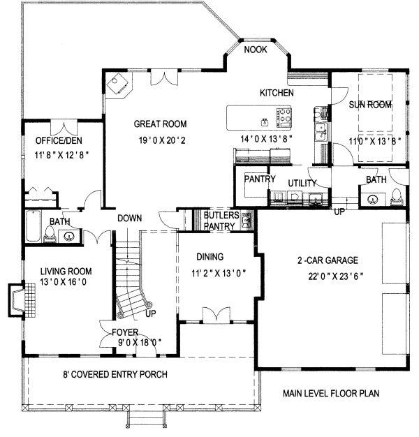 Country Floor Plan - Main Floor Plan Plan #117-878